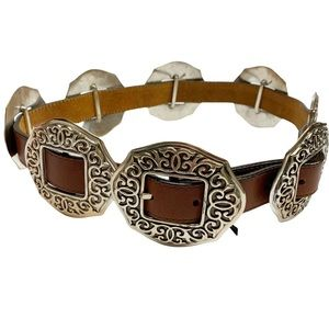 Brighton vintage brown leather and silver concho western style belt M